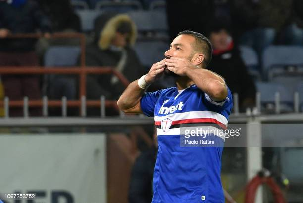 Fabio Quagliarella of Sampdoria celebrates after goal 41 during the Serie A match between UC Sampdoria and Bologna FC at Stadio Luigi Ferraris on...