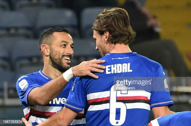 Fabio Quagliarella of Sampdoria celebrates after goal 41 with Albin Ekdal during the Serie A match between UC Sampdoria and Bologna FC at Stadio...
