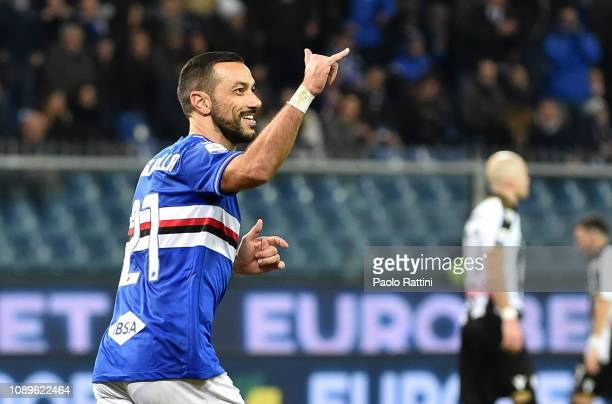 Fabio Quagliarella of Sampdoria celebrates after penalty for 10 during the Serie A match between UC Sampdoria and Udinese at Stadio Luigi Ferraris on...