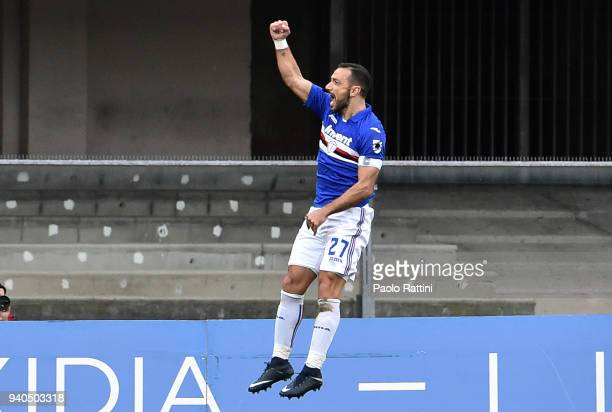 Fabio Quagliarella of Sampdoria celebrates after score 01 during the serie A match between AC Chievo Verona and UC Sampdoria at Stadio Marc'Antonio...