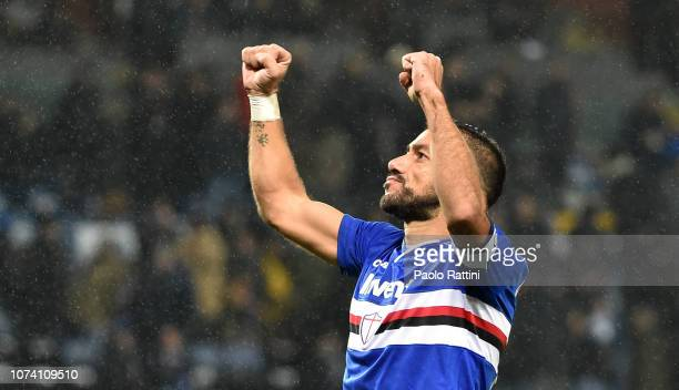 Fabio Quagliarella of Sampdoria celebrates after score 20 during the Serie A match between UC Sampdoria and Parma Calcio at Stadio Luigi Ferraris on...