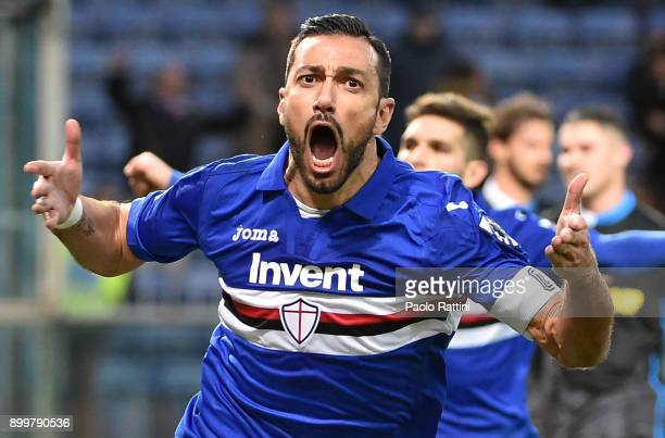 Fabio Quagliarella of Sampdoria celebrates after scoring a goal during the serie A match between UC Sampdoria and Spal at Stadio Luigi Ferraris on...