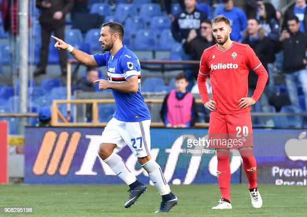 Fabio Quagliarella of Sampdoria celebrates after scoring a goal during the serie A match between UC Sampdoria and ACF Fiorentina at Stadio Luigi...