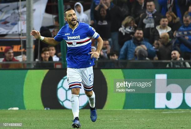 Fabio Quagliarella of Sampdoria celebrates after scoring during the Serie A match between UC Sampdoria and Chievo Verona at Stadio Luigi Ferraris on...
