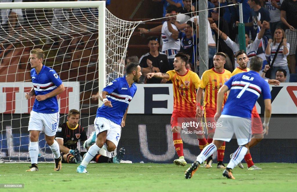 Fabio Quagliarella of Sampdoria celebrates after scoring during the Serie A match between UC Sampdoria and Benevento Calcio at Stadio Luigi Ferraris on August 20, 2017 in Genoa, Italy.