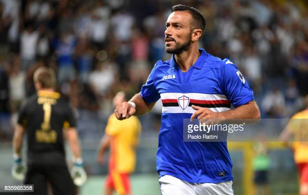 Fabio Quagliarella of Sampdoria celebrates after scoring during the Serie A match between UC Sampdoria and Benevento Calcio at Stadio Luigi Ferraris...