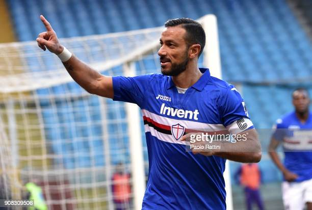 Fabio Quagliarella of Sampdoria celebrates after scoring goal 20 during the serie A match between UC Sampdoria and ACF Fiorentina at Stadio Luigi...