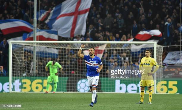 Fabio Quagliarella of Sampdoria celebrates after scoring the first goal of his team during the Serie A match between UC Sampdoria and Chievo Verona...