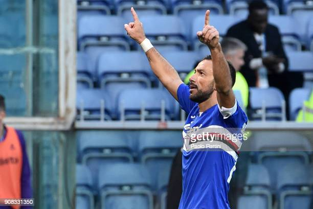 Fabio Quagliarella of Sampdoria celebrates after scoring the goal 30 during the serie A match between UC Sampdoria and ACF Fiorentina at Stadio Luigi...