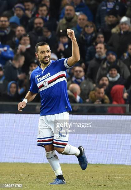 Fabio Quagliarella of Sampdoria celebrates after scoring the second penalty 20 during the Serie A match between UC Sampdoria and Udinese at Stadio...