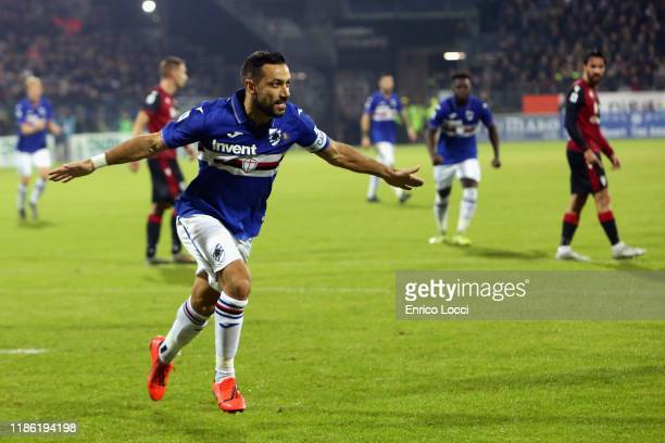 Fabio Quagliarella of Sampdoria celebrates his goal 01 during the Serie A match between Cagliari Calcio and UC Sampdoria at Sardegna Arena on...