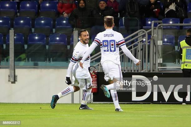 Fabio Quagliarella of Sampdoria celebrates his goal 01 during the Serie A match between Cagliari Calcio and UC Sampdoria at Stadio Sant'Elia on...