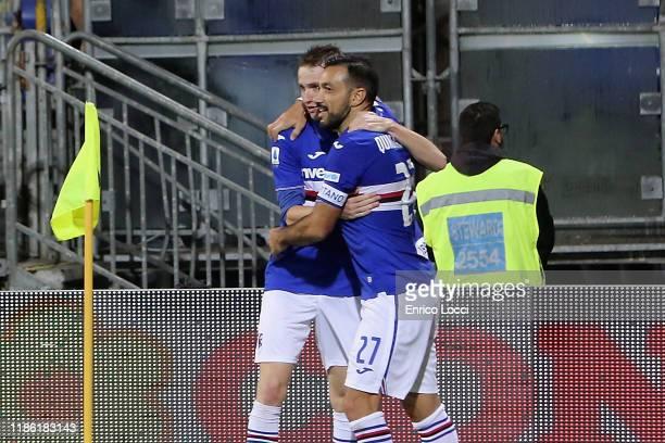 Fabio Quagliarella of Sampdoria celebrates his goal 01 with teammate during the Serie A match between Cagliari Calcio and UC Sampdoria at Sardegna...