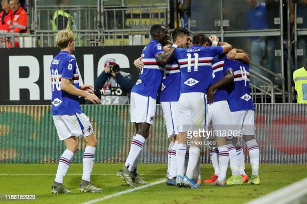 Fabio Quagliarella of Sampdoria celebrates his goal 01 with teammates during the Serie A match between Cagliari Calcio and UC Sampdoria at Sardegna...