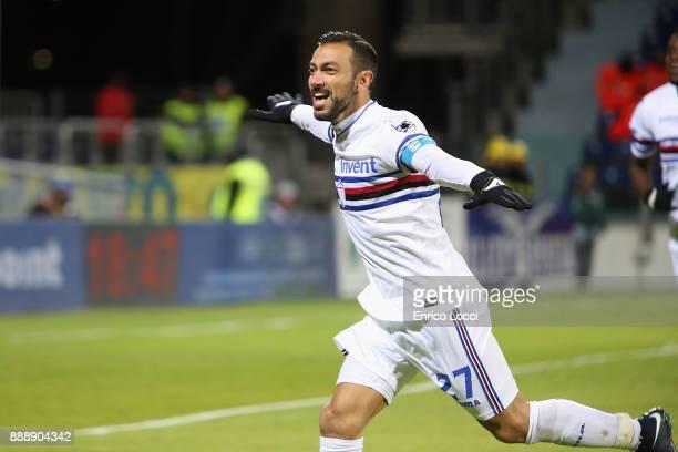 Fabio Quagliarella of Sampdoria celebrates his goal 02 during the Serie A match between Cagliari Calcio and UC Sampdoria at Stadio Sant'Elia on...