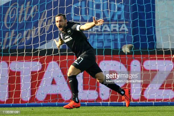 Fabio Quagliarella of Sampdoria celebrates the opening goal during the Serie A match between SPAL and UC Sampdoria at Stadio Paolo Mazza on March 03...