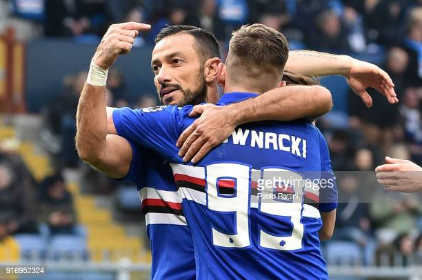 Fabio Quagliarella of Sampdoria celebrates with Dawid Kownacki after penalty 20 during the serie A match between UC Sampdoria and Hellas Verona FC at...