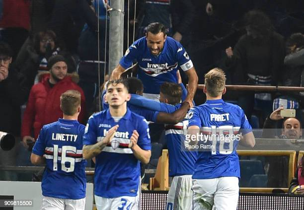 Fabio Quagliarella of Sampdoria celebrates with teammates after scoring penalty 10 during the Serie A match between UC Sampdoria and AS Roma on...