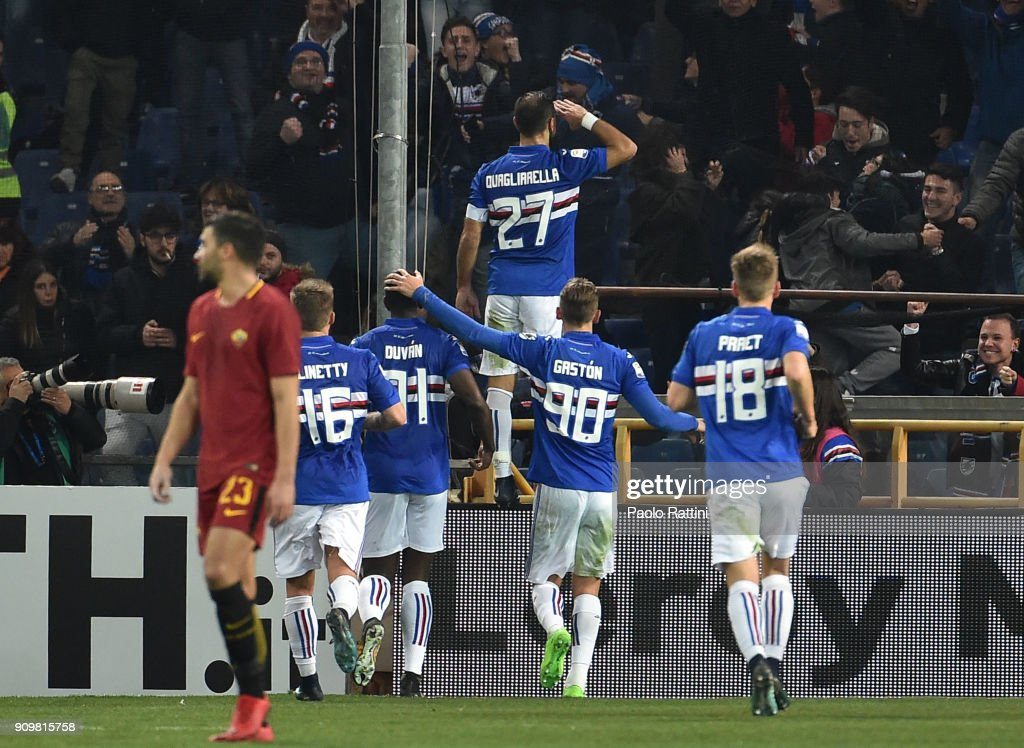 Fabio Quagliarella of Sampdoria celebrates with team-mates after scoring penalty 1-0 during the Serie A match between UC Sampdoria and AS Roma on January 24, 2018 in Genoa, Italy.