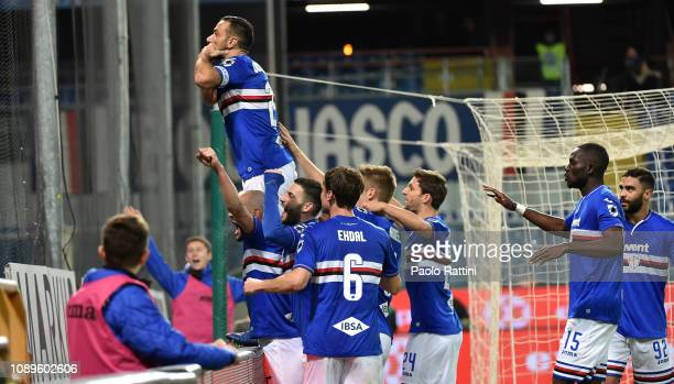 Fabio Quagliarella of Sampdoria celebrates with teammates and fans after penalty for 10 during the Serie A match between UC Sampdoria and Udinese at...