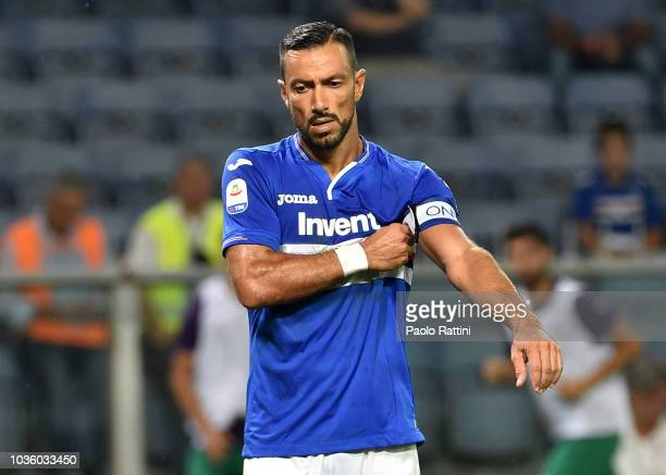 Fabio Quagliarella of Sampdoria disappointment during the serie A match between UC Sampdoria and ACF Fiorentina at Stadio Luigi Ferraris on September...