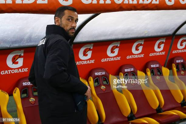 Fabio Quagliarella of Sampdoria during the Italian Serie A football match between AS Roma and Sampdoria at the Olympic Stadium in Rome on Janaury 28...