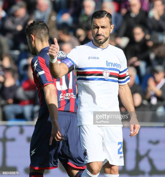 Fabio Quagliarella of Sampdoria during the serie A match between FC Crotone and UC Sampdoria at Stadio Comunale Ezio Scida on March 11 2018 in...