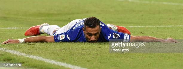 Fabio Quagliarella of Sampdoria during the serie A match between UC Sampdoria and FC Internazionale at Stadio Luigi Ferraris on September 22 2018 in...