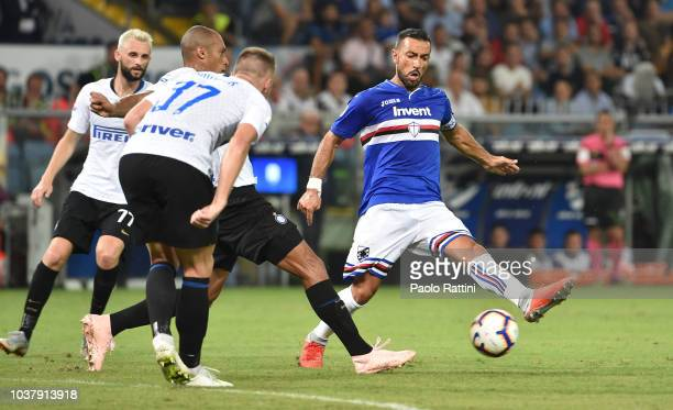 Fabio Quagliarella of Sampdoria in action during the serie A match between UC Sampdoria and FC Internazionale at Stadio Luigi Ferraris on September...