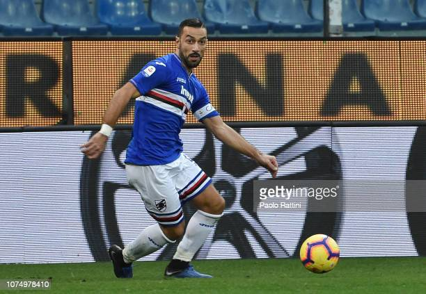 Fabio Quagliarella of Sampdoria in action during the Serie A match between UC Sampdoria and Chievo Verona at Stadio Luigi Ferraris on December 26...