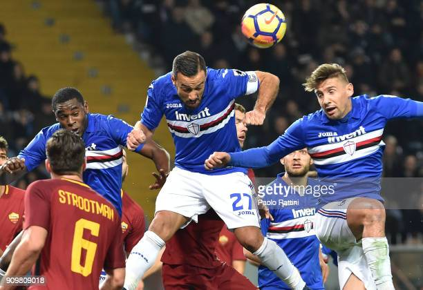 Fabio Quagliarella of Sampdoria in action during the Serie A match between UC Sampdoria and AS Roma on January 24 2018 in Genoa Italy