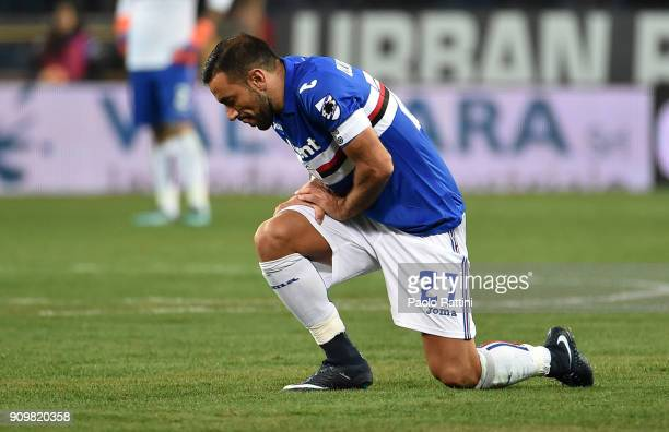 Fabio Quagliarella of Sampdoria injured during the Serie A match between UC Sampdoria and AS Roma on January 24 2018 in Genoa Italy