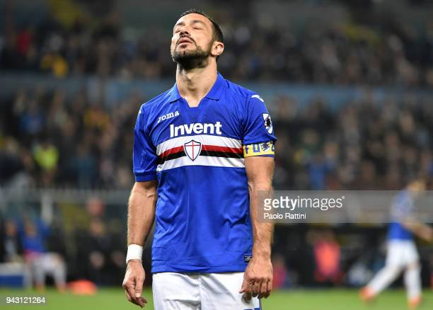 Fabio Quagliarella of Sampdoria looks dejected during the serie A match between UC Sampdoria and Genoa CFC at Stadio Luigi Ferraris on April 7 2018...