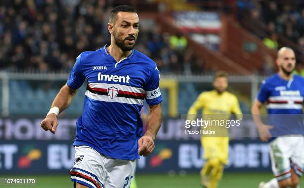 Fabio Quagliarella of Sampdoria looks on during the Serie A match between UC Sampdoria and Chievo Verona at Stadio Luigi Ferraris on December 26 2018...