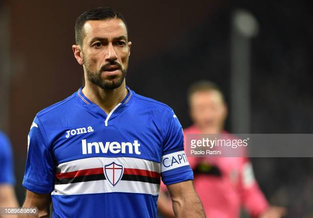 Fabio Quagliarella of Sampdoria looks on during the Serie A match between UC Sampdoria and Udinese at Stadio Luigi Ferraris on January 26 2019 in...