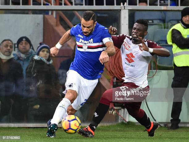 Fabio Quagliarella of Sampdoria opposed to Afriyie Acquah of Torino during the serie A match between UC Sampdoria and Torino FC at Stadio Luigi...