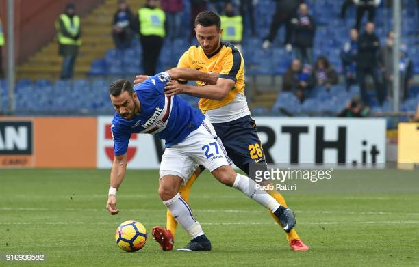Fabio Quagliarella of Sampdoria opposed to Jagos Vukovic of Hellas Verona during the serie A match between UC Sampdoria and Hellas Verona FC at...