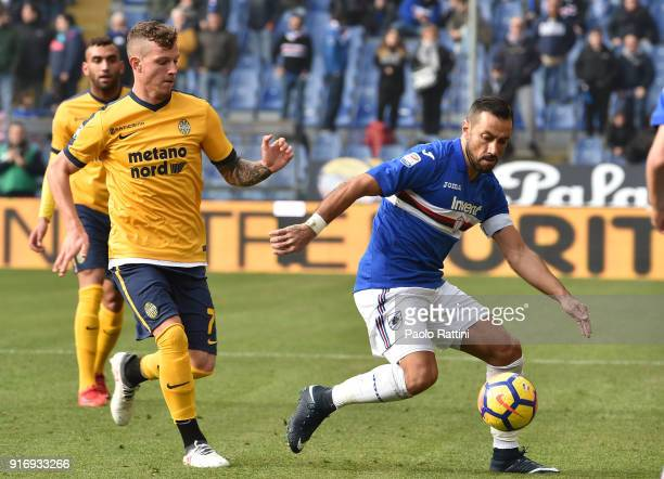 Fabio Quagliarella of Sampdoria opposed to Marcel Buchel during the serie A match between UC Sampdoria and Hellas Verona FC at Stadio Luigi Ferraris...