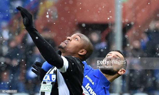 Fabio Quagliarella of Sampdoria opposed to Samir of Udinese during the serie A match between UC Sampdoria and Udinese Calcio at Stadio Luigi Ferraris...