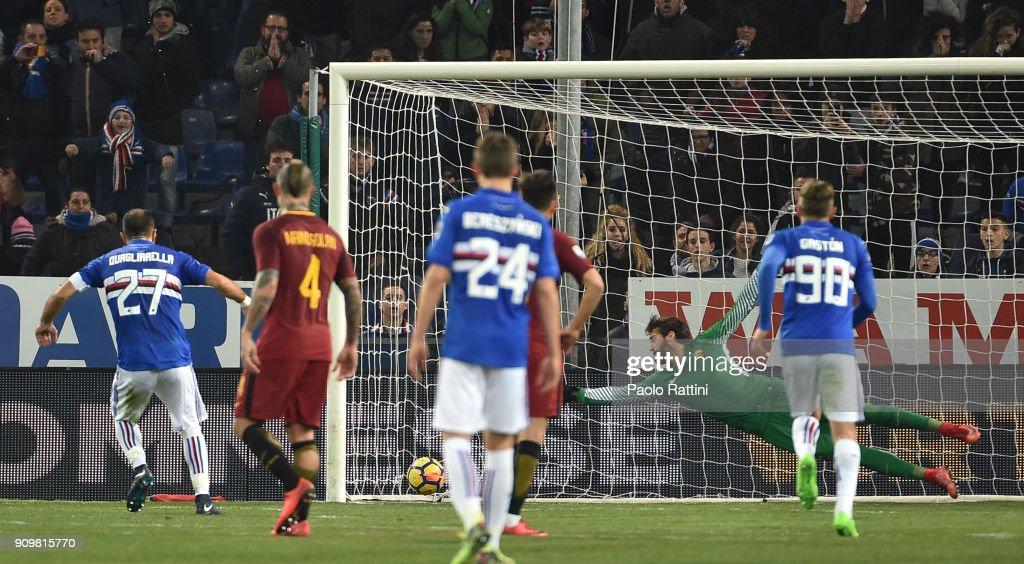 Fabio Quagliarella of Sampdoria penalty 1-0 during the Serie A match between UC Sampdoria and AS Roma on January 24, 2018 in Genoa, Italy.