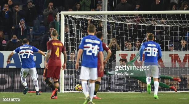 Fabio Quagliarella of Sampdoria penalty 10 during the Serie A match between UC Sampdoria and AS Roma on January 24 2018 in Genoa Italy