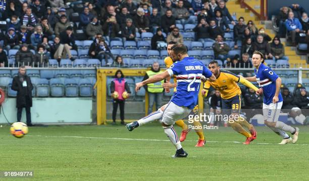 Fabio Quagliarella of Sampdoria penalty 20 during the serie A match between UC Sampdoria and Hellas Verona FC at Stadio Luigi Ferraris on February 11...