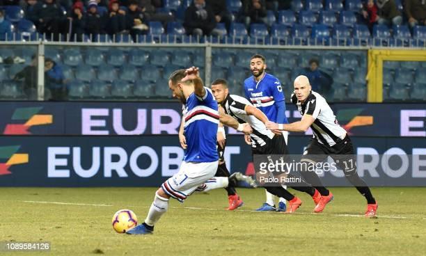 Fabio Quagliarella of Sampdoria penalty for 10 during the Serie A match between UC Sampdoria and Udinese at Stadio Luigi Ferraris on January 26 2019...
