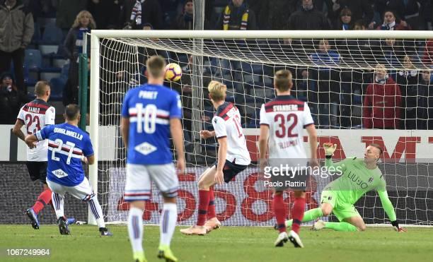 Fabio Quagliarella of Sampdoria score goal 21 during the Serie A match between UC Sampdoria and Bologna FC at Stadio Luigi Ferraris on December 2...