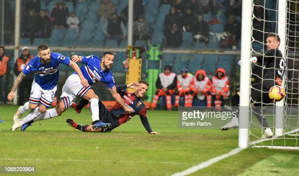 Fabio Quagliarella of Sampdoria score the opening goal during the Serie A match between Genoa CFC and UC Sampdoria at Stadio Luigi Ferraris on...