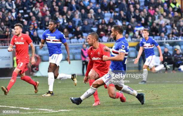 Fabio Quagliarella of Sampdoria scores a goal 20 during the serie A match between UC Sampdoria and ACF Fiorentina at Stadio Luigi Ferraris on January...