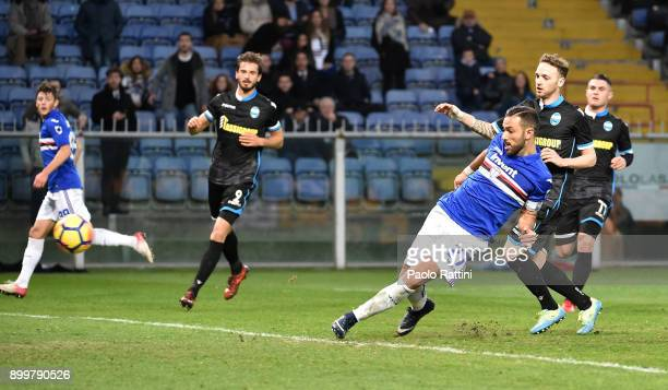 Fabio Quagliarella of Sampdoria scores a goal during the serie A match between UC Sampdoria and Spal at Stadio Luigi Ferraris on December 30 2017 in...
