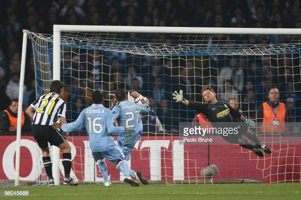 Fabio Quagliarella of SSC Napoli scores the second goal during the Serie A match between SSC Napoli and Juventus FC at Stadio San Paolo on March 25...