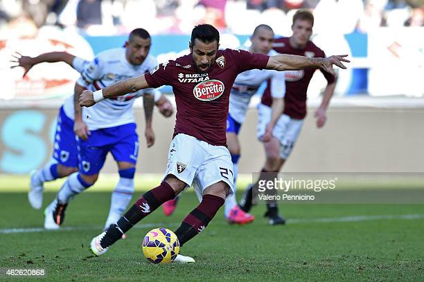 Fabio Quagliarella of Torino FC scores his second goal from the penalty spot during the Serie A match between Torino FC and UC Sampdoria at Stadio...