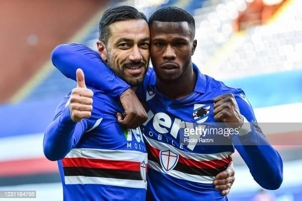 Fabio Quagliarella of UC Sampdoria and Keita Balde celebrate the two goal against ACF Fiorentina during the Serie A match between UC Sampdoria and...